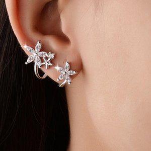 NEW 925 Sterling Silver Diamond Flower Earrings